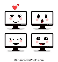 kawaii, γραφικός , ηλεκτρονικός υπολογιστής , μικροβιοφορέας , icon., γελοιογραφία , design.