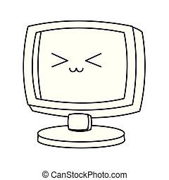 kawaii, οθόνη , ηλεκτρονικός υπολογιστής , μαύρο , άσπρο , γελοιογραφία