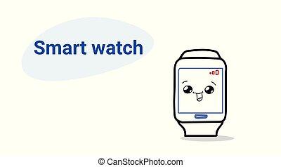 kawaii, χαριτωμένος , ρυθμός , γενική ιδέα , ρολόι , παρακολουθώ , κόμικς , ευτυχισμένος , χαρακτήρας , ζεσεεδ , ασύρματος , κομψός , ψηφιακός , μετοχή του draw , χαμογελαστά , χέρι , τεχνολογία , οριζόντιος , γελοιογραφία , emoji