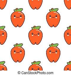 kawaii, かわいい, アップル, 平ら, パターン, seamless, フルーツ, バックグラウンド。, ベクトル, デザイン, 特徴, 白い赤