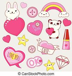 kawaii, かわいい, スタイル, セット, アイコン, バレンタインデー