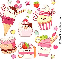 kawaii, かわいい, スタイル, セット, アイコン, 甘い
