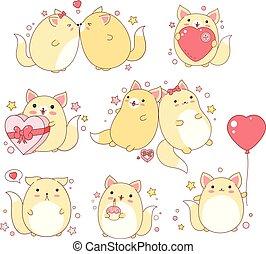 kawaii, かわいい, スタイル, セット, ネコ