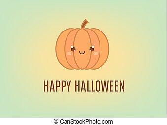 kawaii, かわいい, スタイル, 幸せ, ハロウィーン, 挨拶, デザイン, 休日, 旗, template., カード, カボチャ