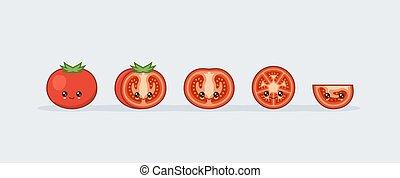 kawaii, かわいい, セット, 食品。, ベクトル, 微笑, tomato.