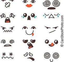 kawaii, かわいい, セット, emoticon., 美しい