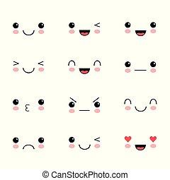 kawaii, かわいい, セット, manga., いたずら書き, 顔, childlike, 美しい, 漫画, emoticon.