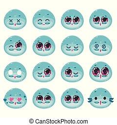 kawaii, かわいい, ベクトル, 色, set., 青, 日本語, 隔離された, オブジェクト, グロッシー, ...