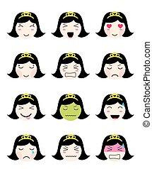 kawaii, かわいい, 別, collection., 顔, ムード, 女の子, emoji, アジア人