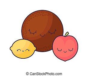 kawaii, ココナッツ, 桃, 特徴, オレンジ, 新たに