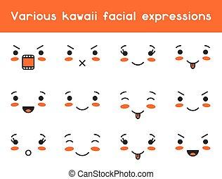 kawaii, セット, いたずら書き, 様々, 顔の 表現