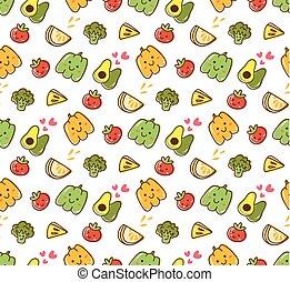 kawaii, パターン, 2, フルーツ, 野菜