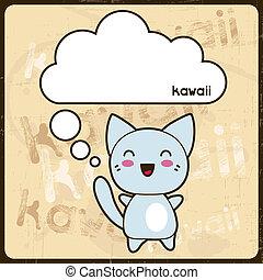 kawaii, 漂亮, grunge, 貓, 背景。, 卡片