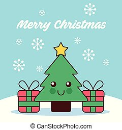 kawaii, albero, neve, pino, regali, buon natale