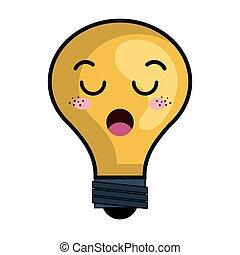 kawaii, ampoule, caractère, lumière