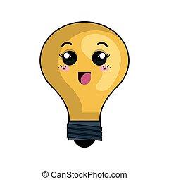 kawaii, ampoule, dessin animé