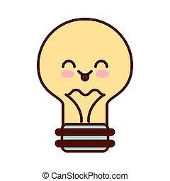 kawaii, ampoule, lumière, plat, icône