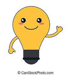 kawaii, ampoule, sourire, dessin animé, lumière