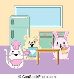 kawaii animal cartoon