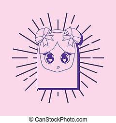 Kawaii anime girl design - Kawaii girl face icon over pink ...