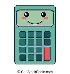 kawaii, appareil, calculatrice, sourire, dessin animé