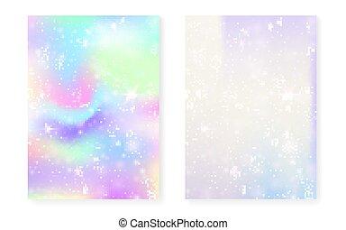 kawaii, arc-en-ciel, magie, gradient., fond, licorne, hologram., princesse