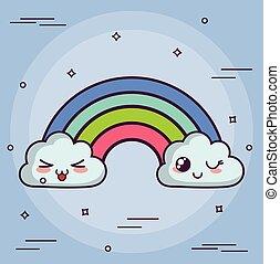kawaii, arc-en-ciel, nuage