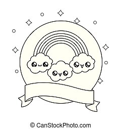kawaii, arc-en-ciel, style, nuages, cadre, ruban, circulaire