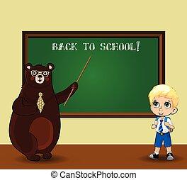 kawaii, aula, lavagna, orso, uniforme, insegnante, scolaro