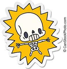 kawaii, autocollant, électrocuté, dessin animé, squelette
