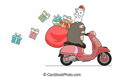 Kawaii bear is riding red motorcycle with cat and gifts