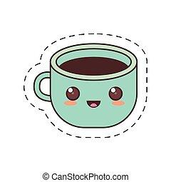 kawaii blue cup coffee fresh dot line