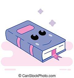Kawaii book character. Cartoon flat style emoji.
