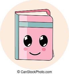 Kawaii book icon isolated. Cartoon flat style emoji.