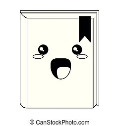 Kawaii book smiling cartoon isolated in black and white