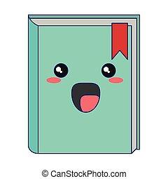 Kawaii book smiling cartoon isolated