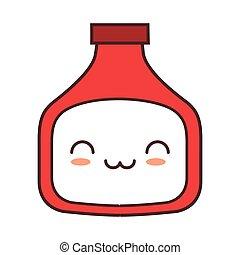 kawaii bottle sauce tomate kitchen