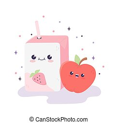 kawaii box juice with straw and apple cartoon