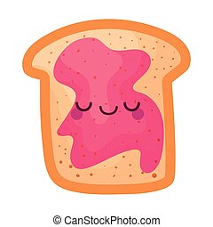kawaii bread with jelly of a pink color