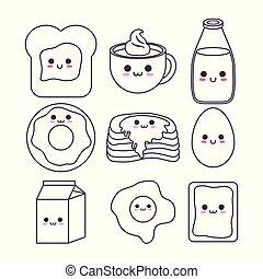 kawaii breakfast food design