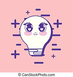 kawaii bulb light icon