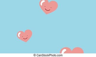 kawaii, cœurs, tomber, amour