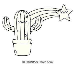 kawaii, cactus, conception, dessin animé