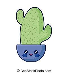 kawaii cactus in a pot
