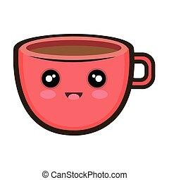 kawaii, café, caricatura, copo
