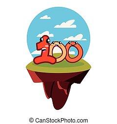 kawaii, carattere, numero, cento, cartone animato