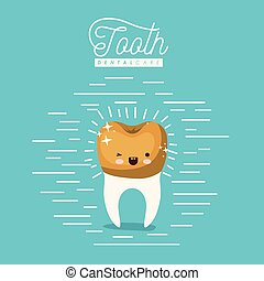 kawaii caricature tooth with golden crown dental care with wink eye and happiness expression on color poster with lines