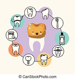 kawaii caricature tooth with golden crown with wink eye and happiness expression with circular frame icons dental care on white background