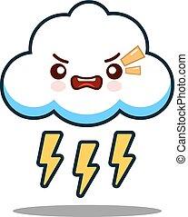 kawaii, carino, appartamento, carattere, faccia, vettore, disegno, bullone, lampo, cartone animato, nuvola, icona