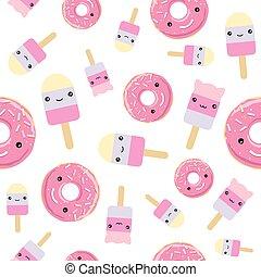 kawaii, carino, donuts., pattern., seamless, ghiaccio, rosa, disegnato, lustrato, crema